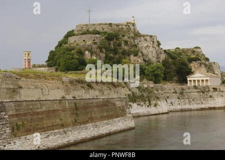 Greece. Corfu (Kerkyra). Old fortress built by the Venetians in the XVI century. It is divided into two parts: land castle and the castle of the sea. Ionian Islands. - Stock Photo
