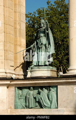Stephen I of Hungary or Saint Stephen (969-1038). First Christian king of Hungary (1000-1038). Statue located at the Millennium Monument. Budapest. Hungary. - Stock Photo