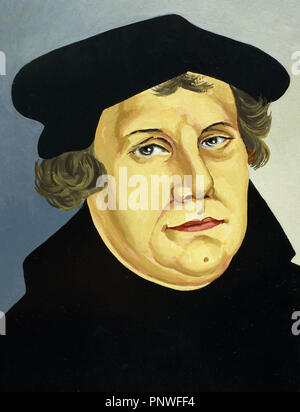 Martin Luther, (Eisleben, 1483, Eisleben, 1546). German reformer. Doctor of Theology and Augustinian priest. In 1517, outlined the main thesis of Lutheranism in Wittenberg. He was excommunicated in 1520. - Stock Photo