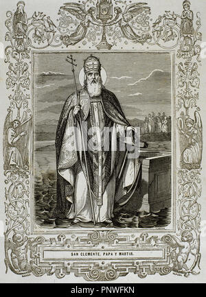 Pope Saint Clement I also known as Saint Clement of Rome. Bishop of Rome. He was the first Apostolic Father of the Church. Engraving by Cibera. - Stock Photo