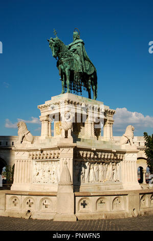 Stephen I of Hungary or Saint Stephen (969-1038). First Christian king of Hungary (1000-1038). Statue of King in the Fishermen's Bastion. Budapest. Hungary. - Stock Photo