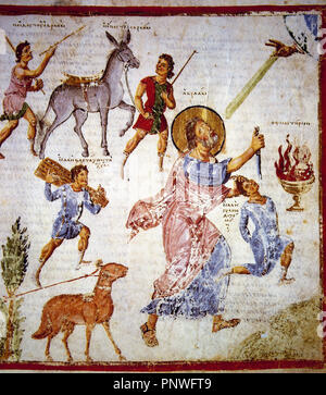 The Sacrifice of Isaac. Miniature of Christian Topography Constantinople by a Greek merchant named Cosmas Indicopleustes, 6th century. Folio. 59r. The Vatican Apostolic Library. - Stock Photo