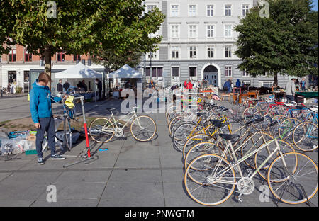 Young bicycle mechanics assembling and selling bicycles at a Saturday flea market on Israels Plads, Israels Square, in sunny autumnal Copenhagen. - Stock Photo
