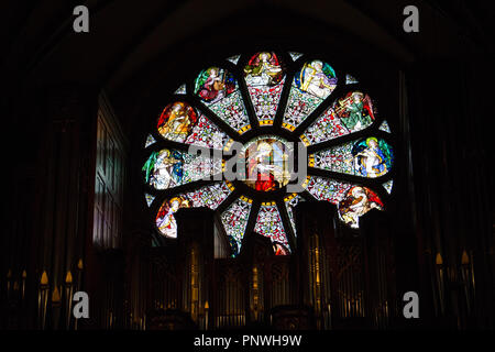 Salt Lake City,Utah,US. 31/08/2017. Stained glass above the organ in the Cathedral of the Madeleine depicting Saint Cecilia. - Stock Photo