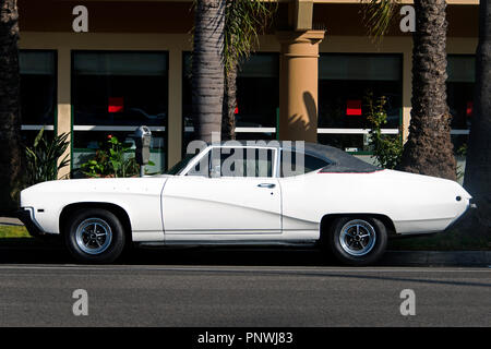 A view of a classic vintage car in the street in Los Angeles - Stock Photo