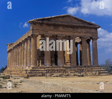 Greek temple of Concordia - 5th century BC. Valley of the temples. Agrigento. Sicily. Italy. Europe - Stock Photo