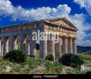 Greek temple of Segesta - 5th century BC. Sicily. Italy. Europe - Stock Photo