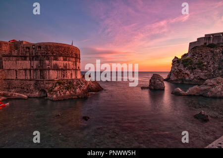 Sunsetting beyond Tvrđava Bokar, in Old Town of Dubrovnik, Croatia, September 2018. - Stock Photo