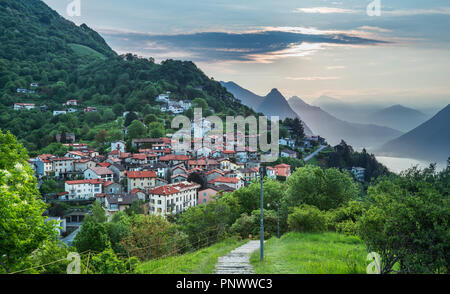Village of Brè. Switzerland, May 12, 2018. Beautiful view from Monte Brè Mountain of village in the early morning. - Stock Photo