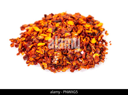 dry hot pepper on white isolated background - Stock Photo