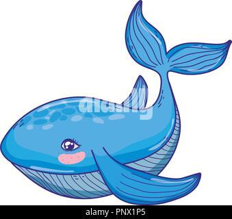 cute whale tropical sea animal