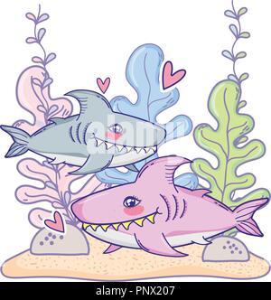 cute shark couple animal with seaweed plants - Stock Photo