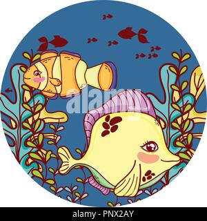 tropical fish and clownfish with seaweed plants - Stock Photo