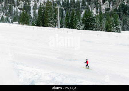 Minimal style winter landscape with ski slope full of snow, surrounded by snowy fir trees, and a single skier, in Ehrwald, Austria. - Stock Photo