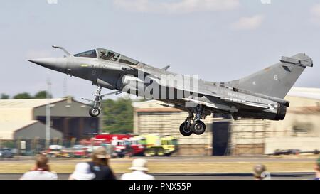 French Navy Dassault Rafale M taking off at the 2018 Royal International Air Tattoo - Stock Photo