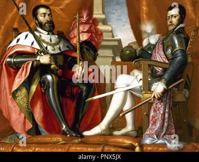 Philip II (1527-1598) and Charles I (1500-1558). Kings of Spain. Portrait by Antonio Arias. Prado Museum. Madrid. Spain. - Stock Photo