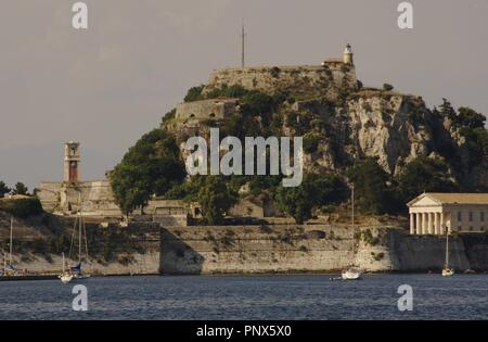 Greece. Corfu. Old Fort, built by the Venetians in the XVI century on a rocky promontory jutting into the sea. Ionian Islands. - Stock Photo