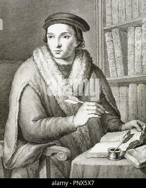 Juan Luis Vives (1493-1540). Valencian scholar and humanist. Portrait. Engraving. - Stock Photo