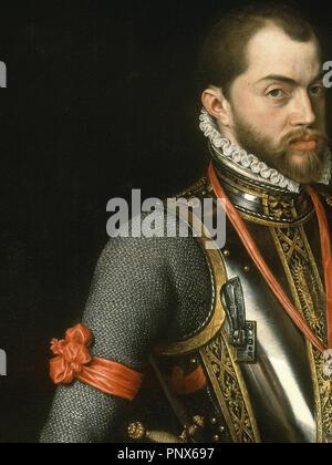 'Portrait of Philip II in Armour (detail)', 1557, Oil on canvas. Author: MOR, ANTONIS. Location: MONASTERIO-PINTURA. SAN LORENZO DEL ESCORIAL. MADRID. SPAIN. - Stock Photo