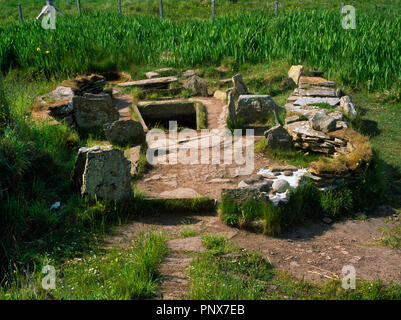 View NW through entrance of a Late Bronze Age oval building found within a large mound of burnt stones at Liddle (Liddel) Farm, Orkney, Scotland, UK.  - Stock Photo