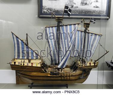 Hokl or Holke, boat widely used in northern Europe, and ship goods. 15th century. Model by G. Konevs, 1987. Scale: 1:50. Museum of History and Navigation. Riga. - Stock Photo