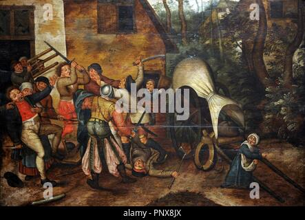Pieter Brueghel the Younger (1564-1636). Flemish painter. Affray between Peasants and Soldiers. Museum of Fine Arts. Budapest. Hungary. - Stock Photo