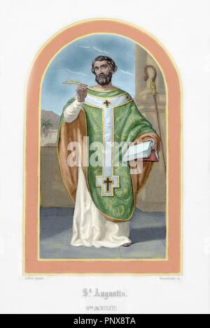 St. Augustine (354-430). African bishop, doctor and father of the church. Colored engraving. - Stock Photo
