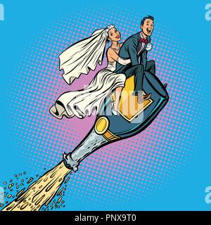 Bride and groom wedding. Flying on a bottle of champagne - Stock Photo