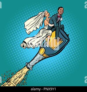 Bride and groom wedding. Inter-ethnic couple. Flying on a bottle - Stock Photo