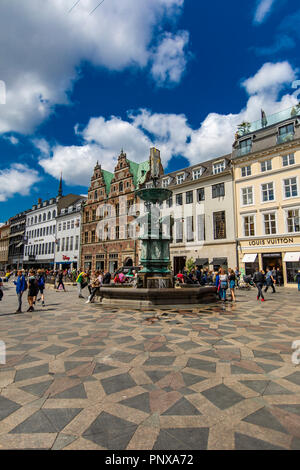 COPENHAGEN, DENMARK - JUNE 13, 2018: Unidentified people at Gammeltorv square in Copenhagen, Denmark. Gammeltorv (Old Market) is the oldest square in  - Stock Photo