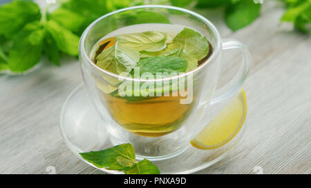 Cup of green tea with mint and lemon - Stock Photo