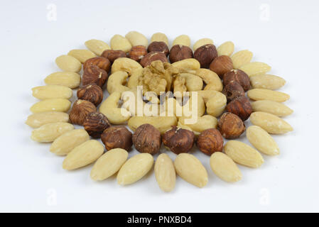 Mixed nuts ordered in flower or sun shape - Stock Photo