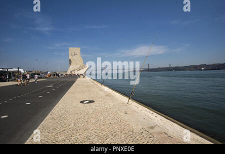 LISBON, PORTUGAL - August 30, 2018: Boulevard on the Tagus River, Monument to the Discoveries (Padrao dos Descobrimentos) with view on 25th of April B - Stock Photo