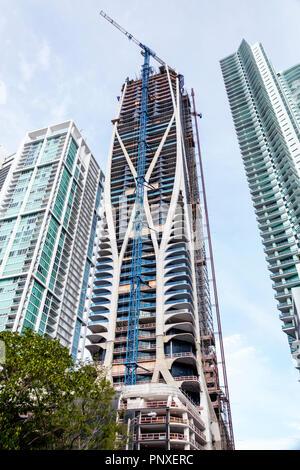 Miami Florida Biscayne Boulevard Scorpion Tower 1000 Museum Zaha Hadid architect new under construction site high rise luxury condominium building - Stock Photo