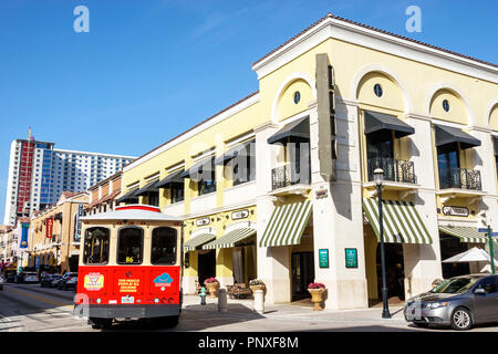 West Palm Beach Florida City Place CityPlace shopping free trolley bus public transportation - Stock Photo
