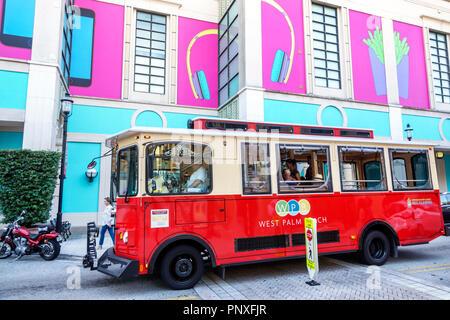 West Palm Beach Florida City Place CityPlace free trolley bus public transportation - Stock Photo