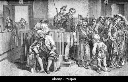 Sentence says guilty, despair of the family, vintage engraving - Stock Photo