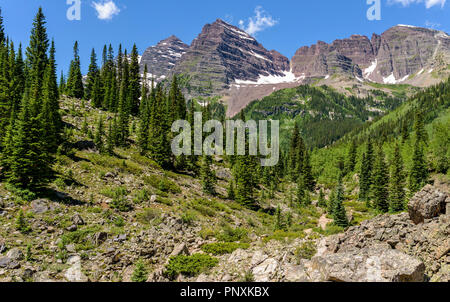 Maroon Bells - A close-up spring view of rugged Maroon Bells, seen from Crater Lake Trail, Aspen, Colorado, USA. - Stock Photo