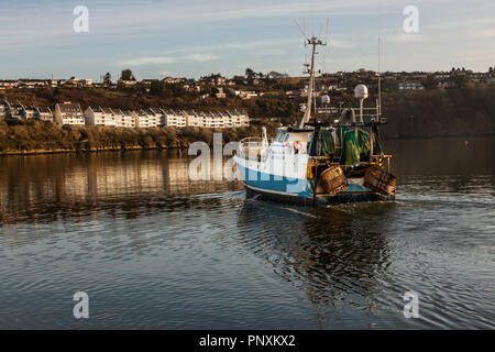 Kinsale, Cork, Ireland. 26th January, 2018. Trawler Dever ar Mor skippered by Des Hurley leaves Kinsale for a four day fishing trip to the Celtic Sea. - Stock Photo