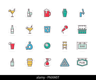 Set of alcohol and bar, night club colored line icons. Cocktail, wine, beer, cup, tequila, cognac, whiskey, shaker, whisky, karaoke, vape, shot, tap, billiard, hookah and more. Editable Stroke. - Stock Photo