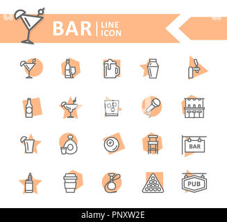 Set of alcohol and bar, night club line icons. Cocktail, wine, beer, cup, tequila, cognac, whiskey, shaker, whisky, karaoke, vape, shot, tap, billiard, hookah and more. Editable Stroke. - Stock Photo
