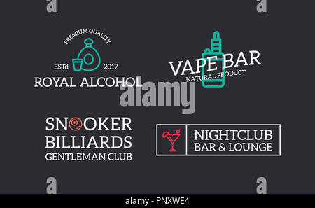 Set of retro vintage night club, billiard, vape, cognac, disco logo or insignia, emblems, labels and badges and other branding objects. line style - Stock Photo