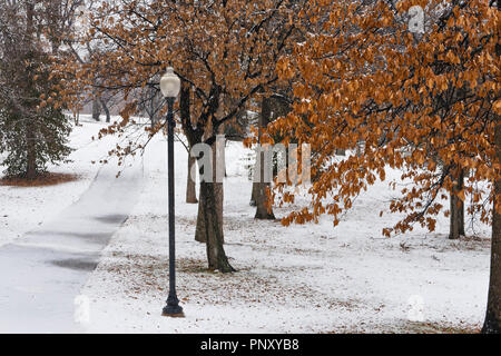 Snow falls and accumulates on a walking path beside a street light and trees with reddish-brown winter foliage at January-Wabash Park in Ferguson, Mo. - Stock Photo
