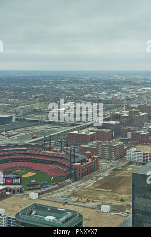 View of the Downtown St. Louis skyline and the horizon off to the west from the observation windows at the top of the Gateway Arch. - Stock Photo