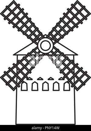 moulin building architecture antique structure vector illustration thin line - Stock Photo