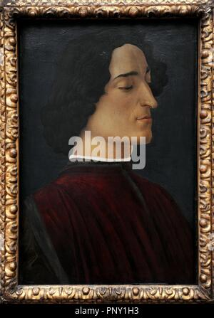 Giuliano de Medici (1453-1478). Co-ruler of Florence. Portrait by Sandro Botticelli (1445-1510), 1478. Gemaldegalerie. Berlin. Germany. - Stock Photo