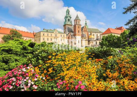 Wawel castle in Krakow Poland - Stock Photo