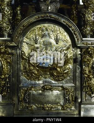 Detail of a silver relief from the Main altar of the Cathedral of Santiago de Compostela. Depiction of the Last Supper. Santiago de Compostela, Province of La Coru–a, Galicia, Spain. - Stock Photo