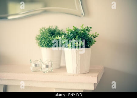 Home styling green artificial plants in white pots and glass candle holders on the fireplace mantel - Stock Photo