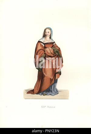 Lady of Florence, 16th century, from a fresco by Andrea del Sarto. Long, full brown gathered dress, blue underdress, blue veil, necklace.. Handcolored illustration by E. Lechevallier-Chevignard, lithographed by A. Didier, L. Flameng, F. Laguillermie, from Georges Duplessis's 'Costumes historiques des XVIe, XVIIe et XVIIIe siecles' (Historical costumes of the 16th, 17th and 18th centuries), Paris 1867. The book was a continuation of the series on the costumes of the 12th to 15th centuries published by Camille Bonnard and Paul Mercuri from 1830. Georges Duplessis (1834-1899) was curator of the P - Stock Photo